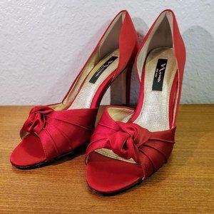 Nina Red Satin Knot Peep Toe D'Orsay Heel Pumps